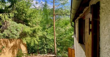 pohled na terasu a výhled do lesa