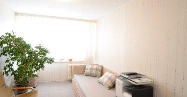 ložnice s pohovkou, kytka a tiskárna