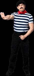 muž v pruhovaném námořnickém triku ukazuje nesouhlasný projev rukou