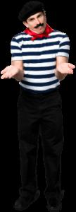 muž v pruhovaném námořnickém triku krčí ramena a ukazuje dlaně vzhůru