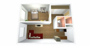 půdorys bytu, 3D plánek
