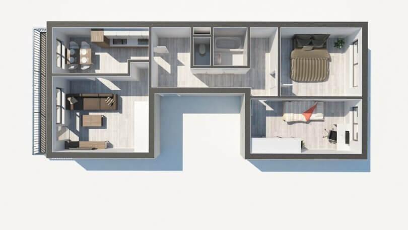 půdorys bytu 3+1 s lodžií, pohled ze shora