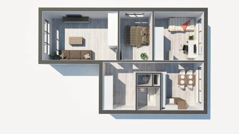 půdorys bytu 3+1, 3D plánek